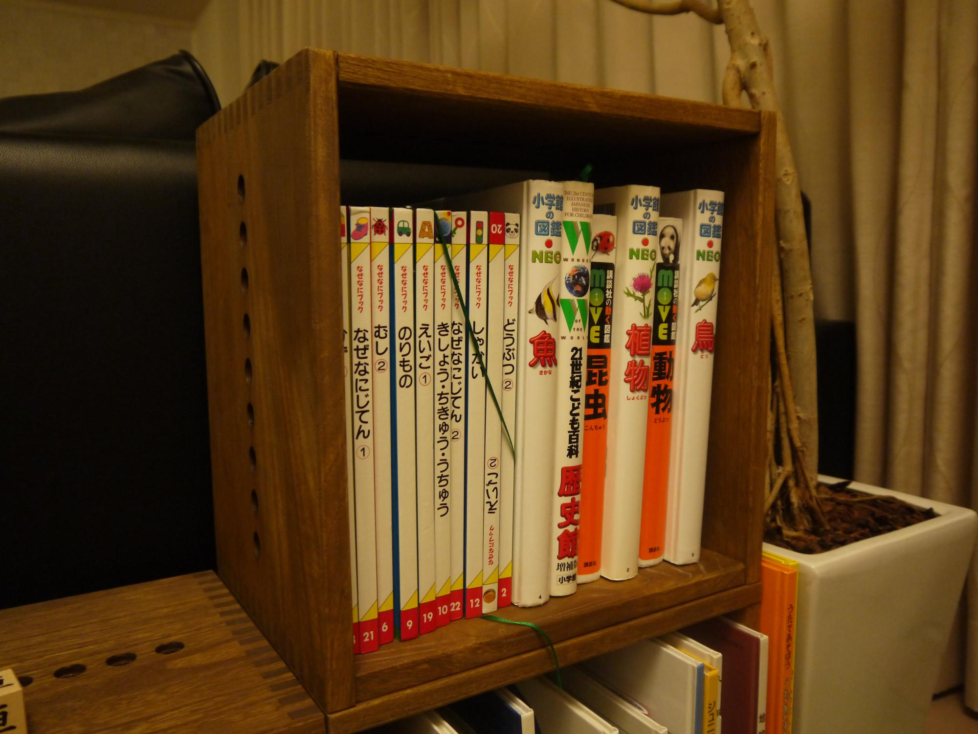 【すばらしい!】 <感想>質感・色が気に入りました。軽くて運びやすいのもよいです。子供の本棚ではありますが、いい感じに見えてよかったです。奥の方に2個置けるので追加購入したいです。<設置場所>ソファーの後ろ。前から見ると本棚が見えなくてちょうどよいです。<使用方法>子供の絵本入れ<こだわり>段々にして子供が上り下りできるように設置しました。本棚からソファーへ、ソファーから本棚へ行ったり来たりして楽しそうにしています。【子供部屋 無垢 木製 収納 ラック キューブ カラーボックス 本棚 絵本 おもちゃ 収納 図鑑 大型本】