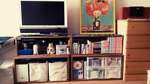 【すっきり!】 MMとLL Boxを各2つ購入しました。たくさん収納できて、部屋がすっきりしました。テレビ台としてもちょうどよかったです。色の感じも自然で、お部屋に合いました。【子供部屋 無垢 木製 収納 ラック キューブ カラーボックス 本棚 絵本 おもちゃ 収納 図鑑 大型本】