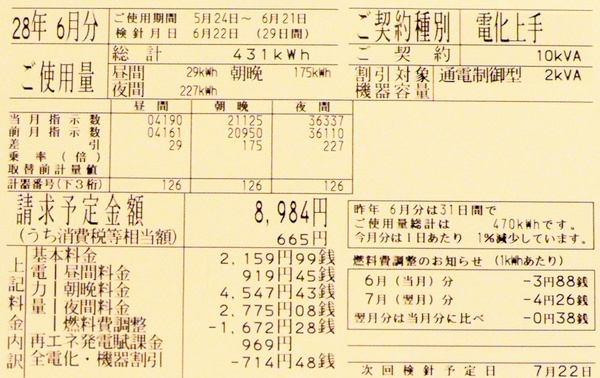 2016年6月分の電気料金明細