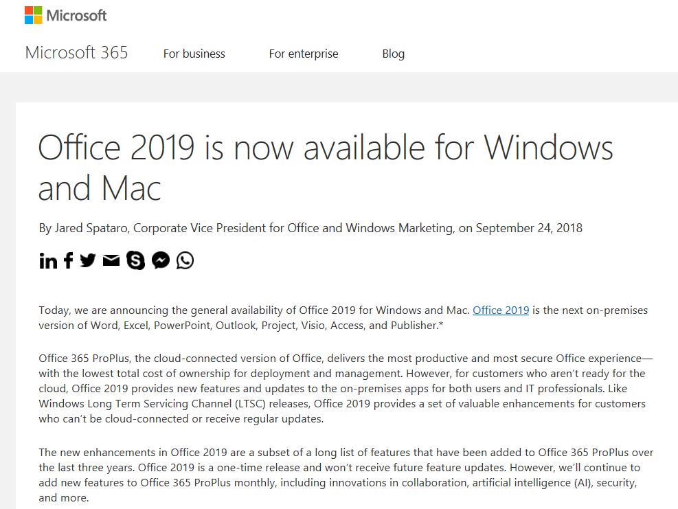 いよいよ office2019 が登場 対応osはwindows及びmac microsoft