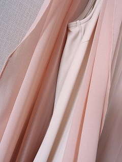 クードシャンス シフォン 肩ビジューワンピース ピンク