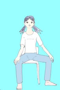 椅子でヨガポーズ、三角のポーズ1