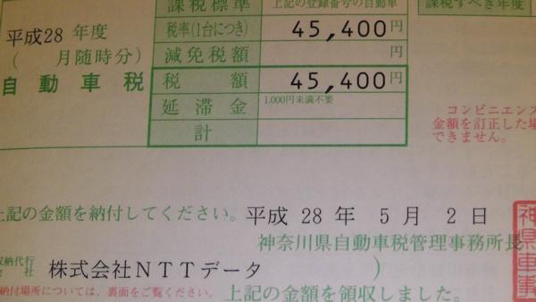 税額 平成28年 自動車税 45400円