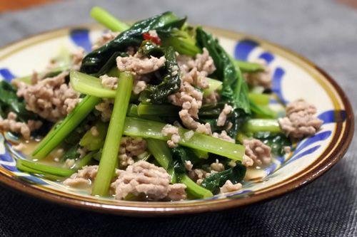 小松菜と豚肉の白ワイン炒め