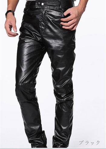 パンツ メンズ ストレート 合皮 ブラック