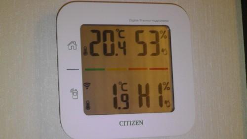 室温20℃ 湿度53% 外気温は2℃