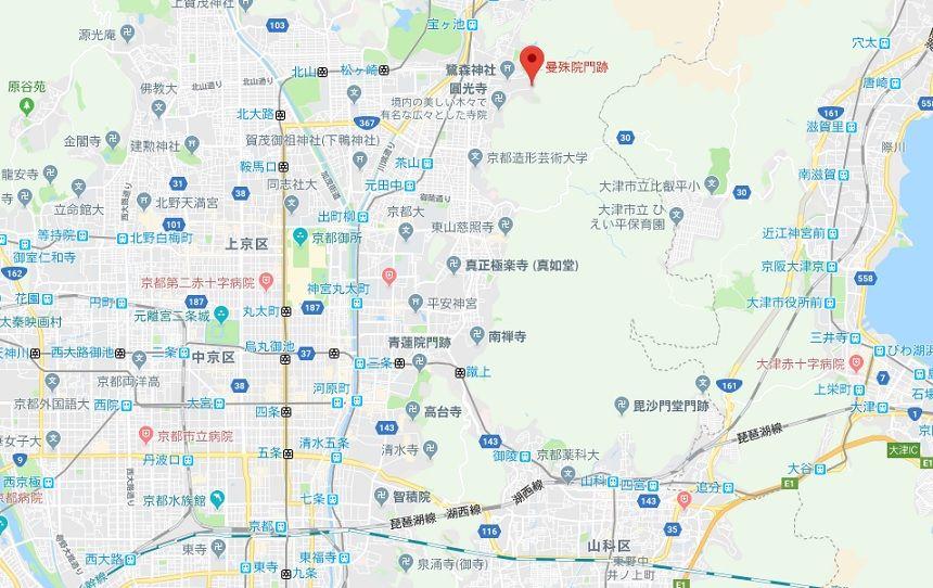 曼殊院門跡 京都 地図 場所