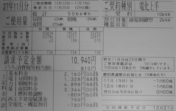 2015年11月分の電気料金明細