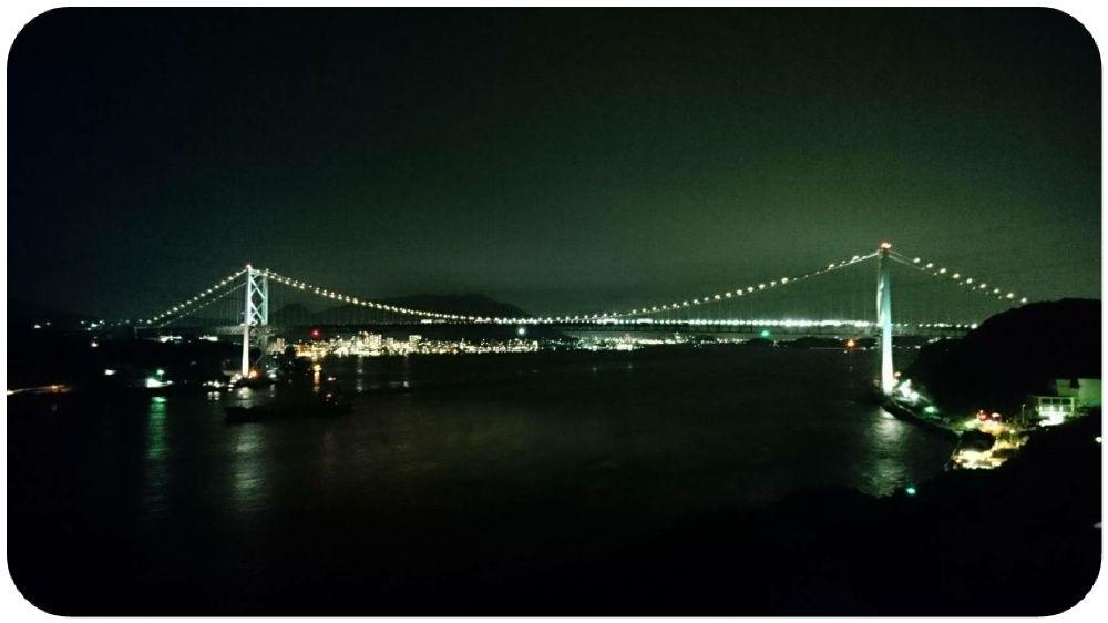 夜の関門海峡を望める from 海峡ビューしものせき