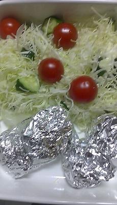 1月19日昼 サラダ、たらのカレー風味焼き、椎茸の包み焼き.jpg