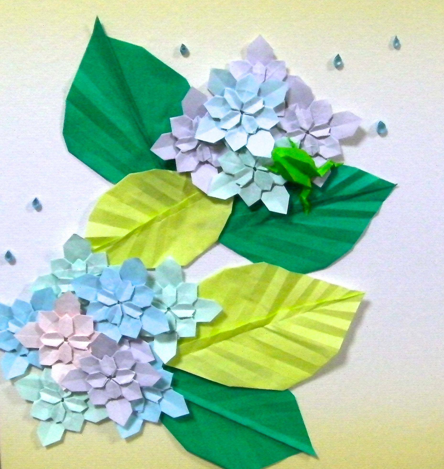 紫陽花 折り紙 壁 飾り