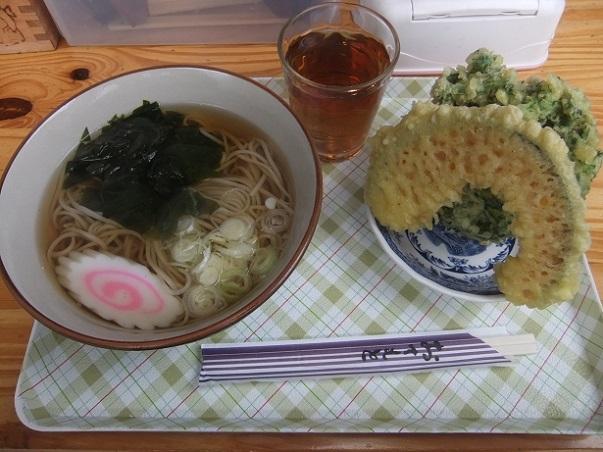 ヤマヨめん工房@清瀬のかけそば+かぼちゃ天+春菊天1