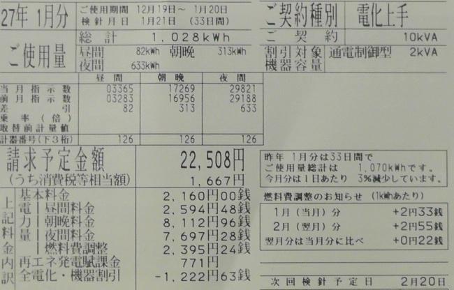 2015年1月分の電気料金明細