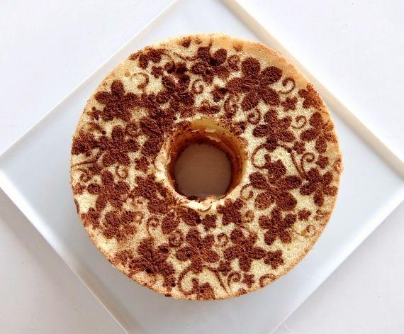 シフォンケーキ プルメリア 失敗  chiffon cake ステンシル