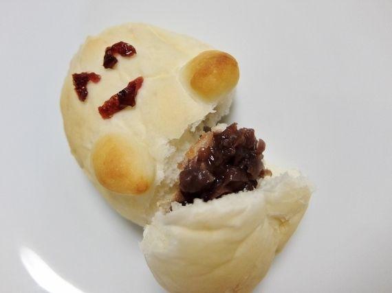 手作りパン ハロウィン☆ミイラのパン 手こね アンパン