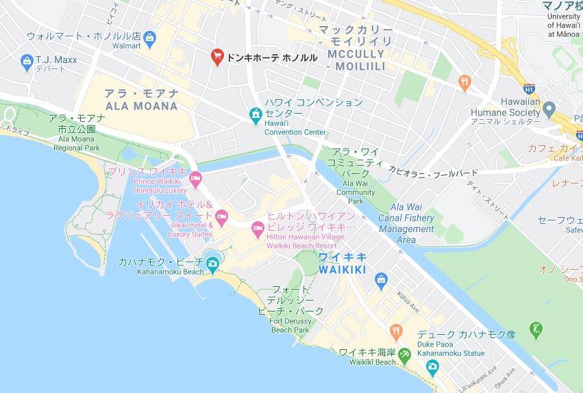 ハワイ ドン・キホーテ ワイキキ 場所 地図