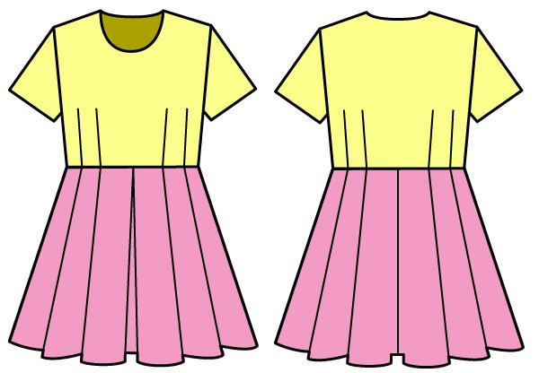 ウエスト切り替えのワンピAのプリーツスカート