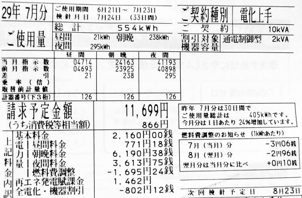 2017年7月の電気料金明細