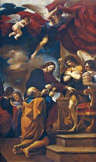 グエルチーノキリストから鍵を受け取る聖ペテロ