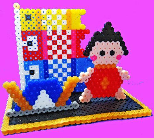 アイロンビーズ 金太郎と兜と鯉のぼり (巾13×高9×奥6.5�p)
