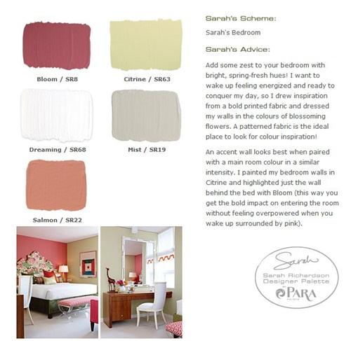 Sarah's bedroom palette