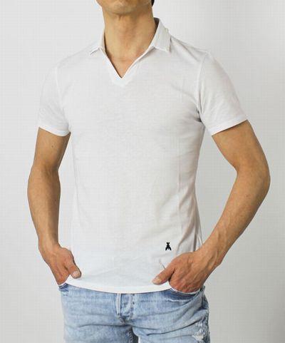 PATRIZIA PEPE ( パトリツィア ペペ ) / コットン 変形スキッパー ポロ Tシャツ【ホワイト/ネイビー】
