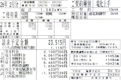 2014年2月分の電気料金明細