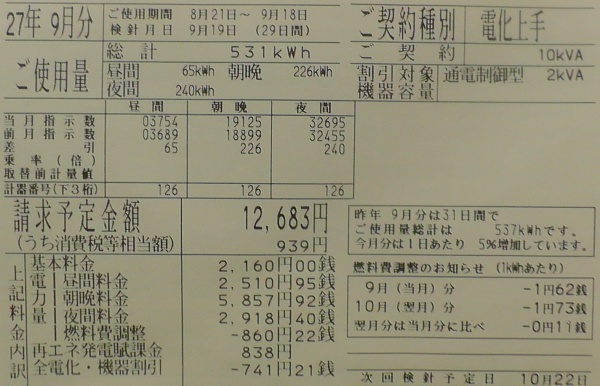2015年9月分の電気料金明細