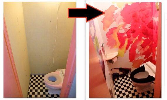 セルフ リノベーション トイレのリフォームをDIYでやってみました  トイレの壁 輸入壁紙 ドイツ製のフリース壁紙を貼りました Passion