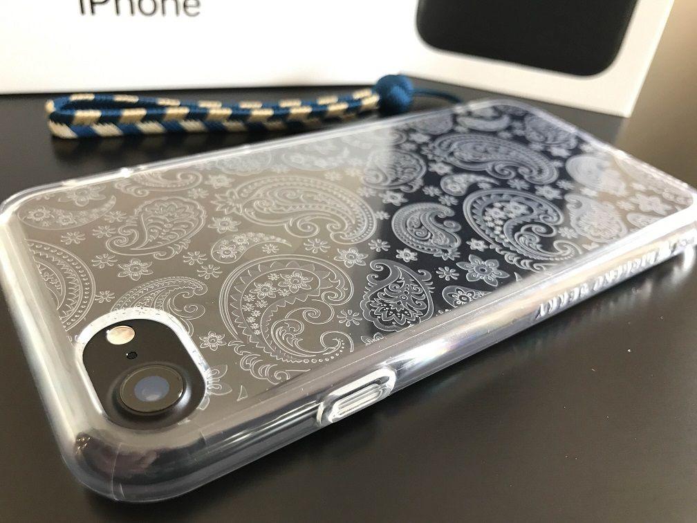 iPhone7 ( 4.7inch ) ケース Highend berry ペイズリー 京くみひも ストラップ 矢絣 紺