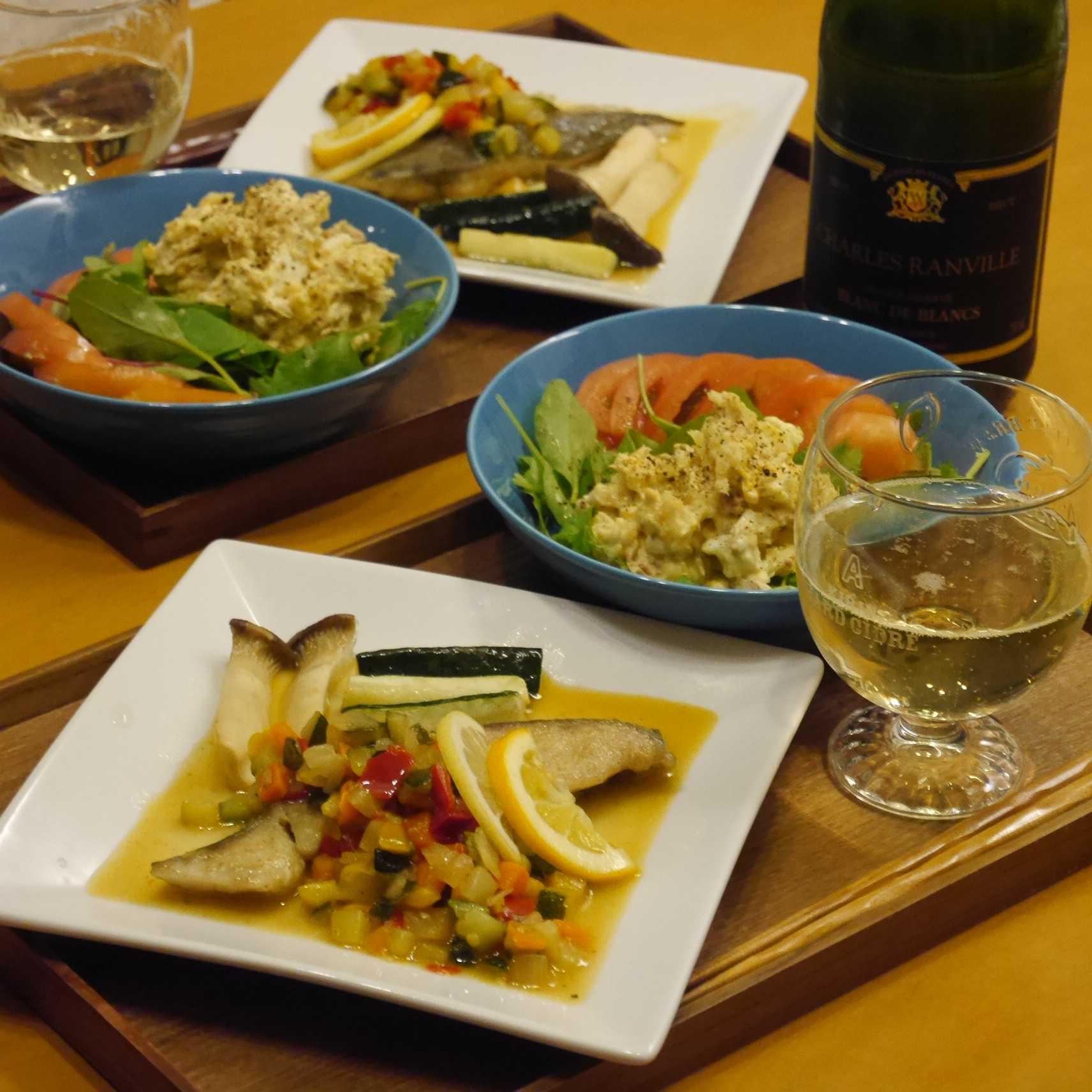 白身魚のカラフルレモンソースソテー_食卓
