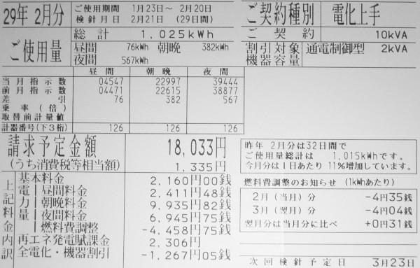 2017年2月分の電気料金明細