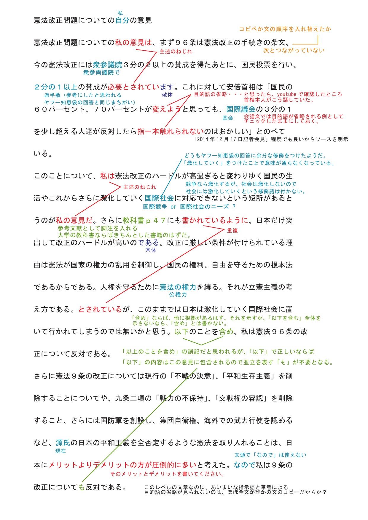 F欄大学生のレポートにチェックを入れてみた。 | 松阪市の学習 ...