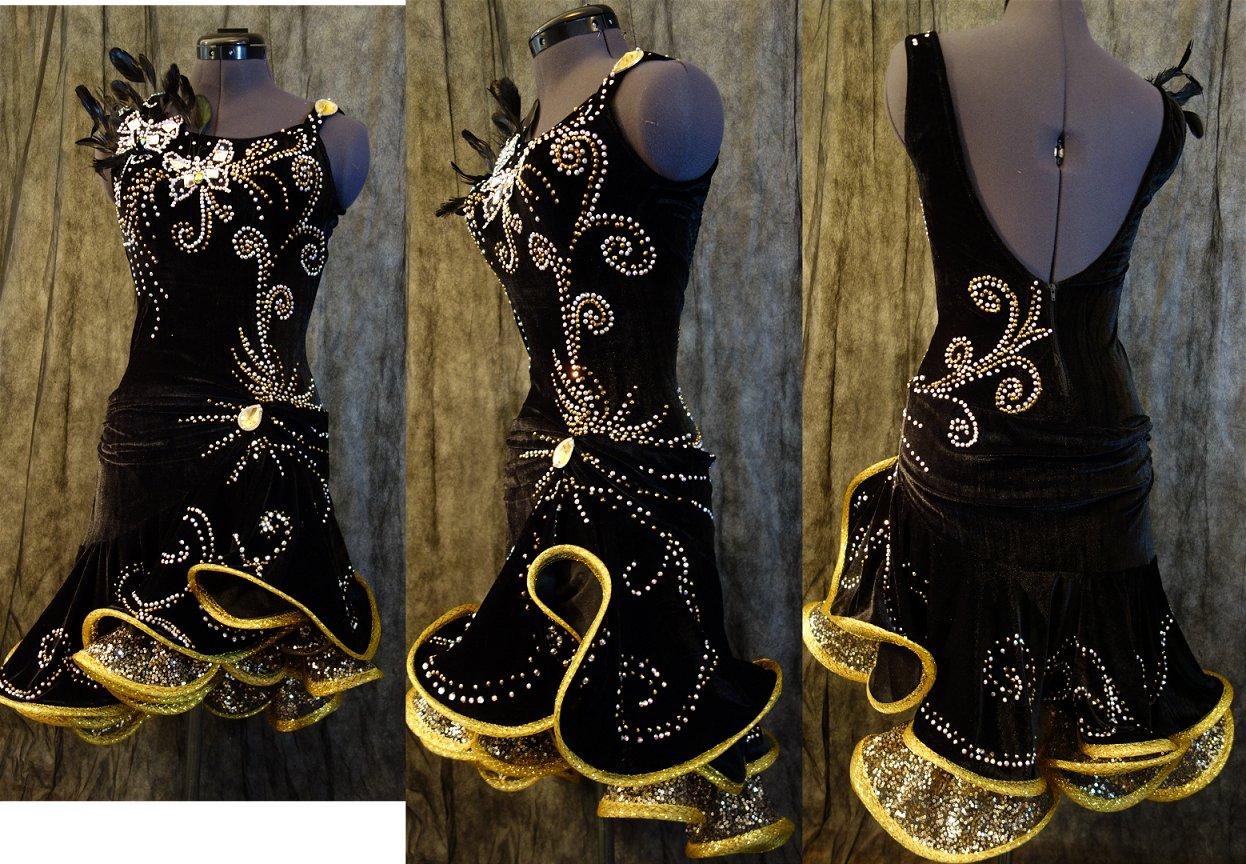 145b0d5247a92 黒&ゴールドのベロアのラテンドレス(新作)