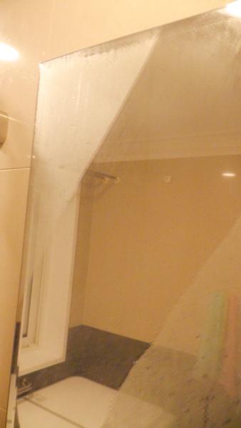 鏡についた水滴を除去する