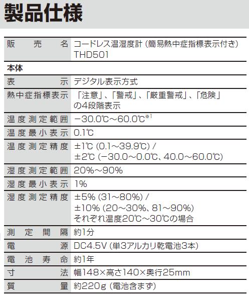 コードレス温湿度計THD501の仕様
