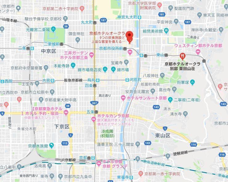 京都ホテルオークラ 地図 立地良し 場所