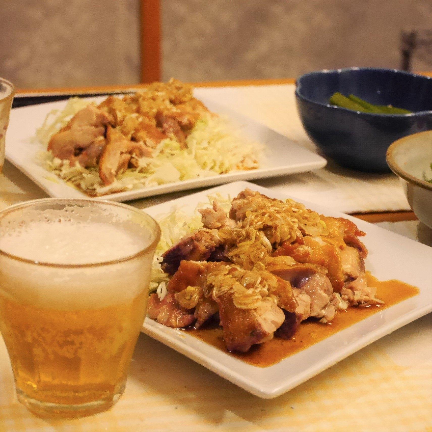 鶏肉のパリパリ焼き★ネギポン酢でさっぱり_食卓
