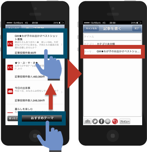 楽天ブログアプリからの投稿方法2
