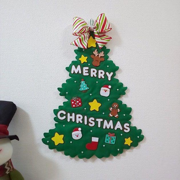 クリスマス☆大きなフェルトツリーの壁飾り