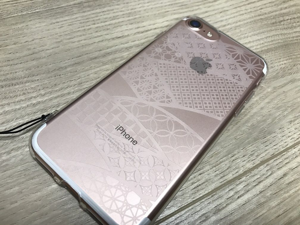 iPhone7 Owltech OWL-CVIP716KG-CL TPU ケース クリア 切子硝子 & ELECOM FINGER STRAP P-STF03RD ソフトレザー