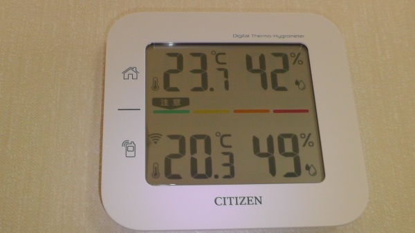 2016年2月13日12:30における室内外の温湿度