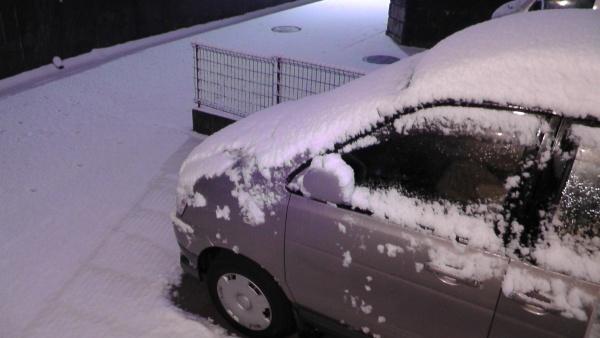 積雪 駐車場 車