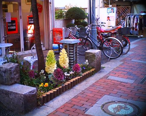 通る人の心を暖かくしてくれる商店街に飾られたお花をV1015 R2で撮った写真です