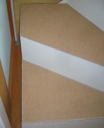 階段に麻のカーペット置き敷き