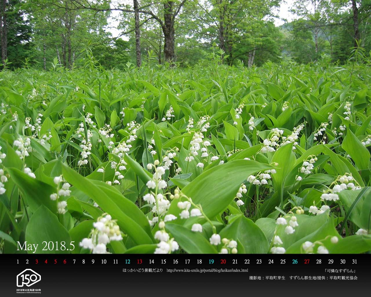 5月は平取町です pc壁紙カレンダーを配布しています