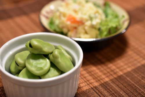 ゆで空豆とポテトサラダ