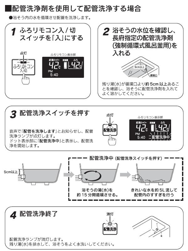 配管洗浄剤を使用して配管洗浄する場合