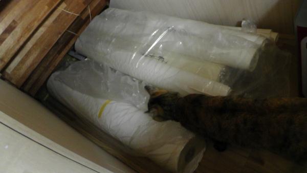 階段下収納の一番奥に余った壁紙を置く