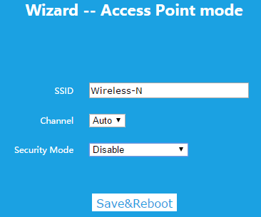 Wizard -- Access Point mode アクセスポイントモードの設定画面